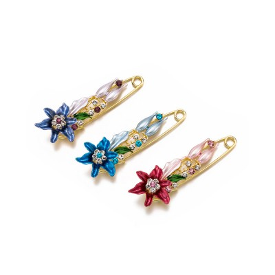 Elegant Dainty Lily Flower Dripping Alloy Breastpin for Women, Rhinestone Embellishment Bags Scarf Clothes Decoration Accessories Flower Brooch