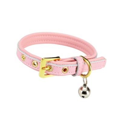 Delicate Leather Dog Cat Collar, Hardware Comfort Bell Dog Collar, Cowhide Small Pet Supplies