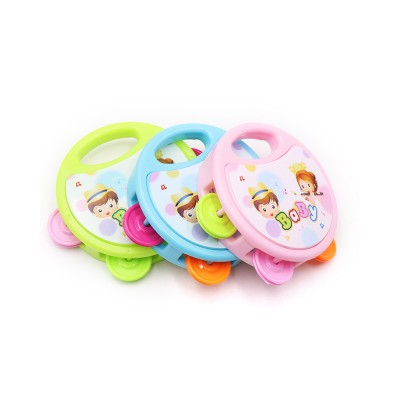 Colorful Baby Hand Bell with Cute Painting, Delicate Solid Plastic Children Tambourine Rattle Early Education Toy