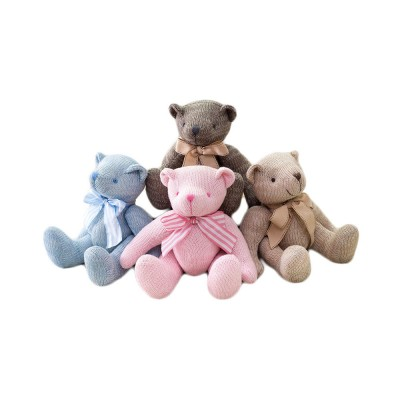 Cute Jointed Teddy Bear Doll with Bow Decoration, Animal Carton Fluffy Toy Birthday Present Gift for Children