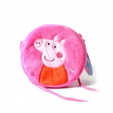 Cute Peppa George Pig Little Round Children Shoulder Bag, Ultrasoft Plush Cotton Satchel Cross Body Bag for Girls Boys