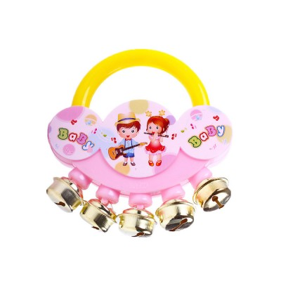 Delicate Carton Hand Bell for Babies Infants, Cute Fancy Rattle with Five Bells Children Early Education Toy