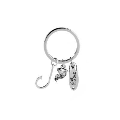 Key Chain of Fish Hook Design with Smear Lettering, Engraved Stainless Steel Key Ring Pendant for Father's Day Gift