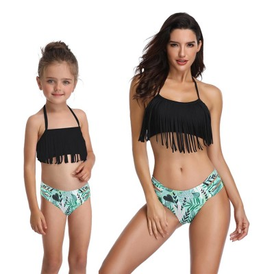 Parent-child Swimsuit with Tassel & Adjustable Back Strap design, Lovely Split Bikini with Three Broadband Waist