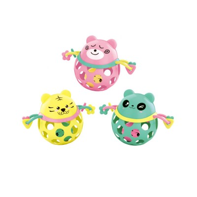 Silicone Rattles Grip Ball Teether with Cute Carton Animal Model, Delicate Funny Ultrasoft Silica Gel Puzzle Toy for Babies Children