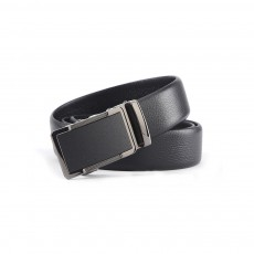 Men' Alloy Automatic Buckle Belt with Stainless Steel Buckle, Second Floor Leather Polished Stone Business Belt