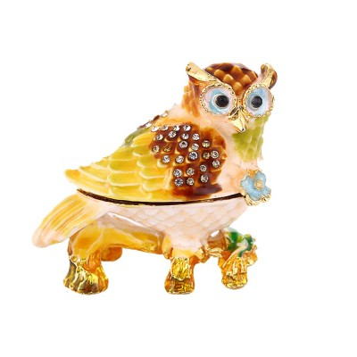Standing Owl Shape Jewelry Storage Box Drip-oil Set with Diamond Metal Handicraft Furnishing For Women to Storage Jewelry and Presents