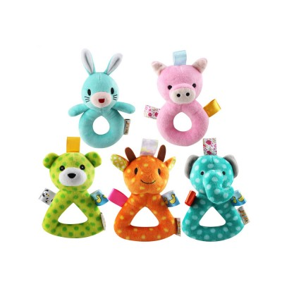 Cute Animal Fluffy Rattle with BB Device, Delicate Triangle Round Hand Grip Hand Bell for Infants