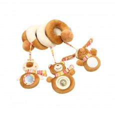 Newborn Infants Brown Animal Hanging Rattle, Delicate Music Sounding Baby Bedside Winding Bell Toy for Bed Stroller