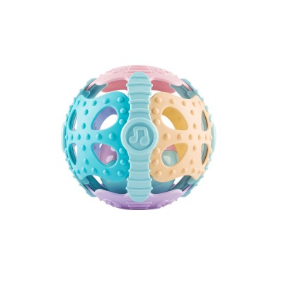 Flexible ABS Plastic Round Fitness Ball Teether Rattle, Delicate Colorful Raised Grain Teeth Grinding Gum Hand Ball for Baby Infants