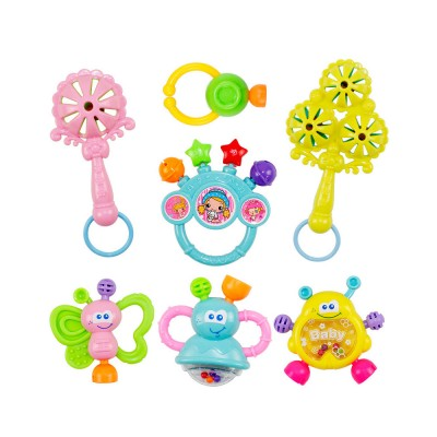 7PCS Cute Cartoon Rattle Suit for Babies, Solid ABS Plastic Delicate Fancy Hand Bell Early Education Puzzle Toy