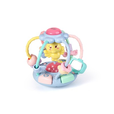 Cute Cartoon Chick Babies Teether Rattle, Baby Beads Grasping Ball Music Light Early Education Toy