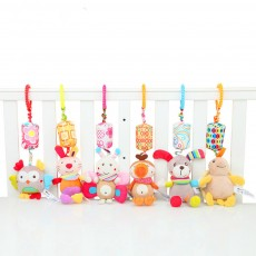 Cute Carton Animal Wind Bell Hanging Pendant, Ultrasoft Short Plush Bedside Pacification Toy for Babies Infants