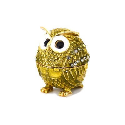 Drip-oil Set with Diamond Metal Handicraft Furnishing with A Lovely Owl Shape, Creative Jewelry and Presents Storage Box Gift for Kids