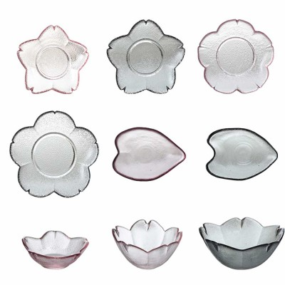 Japanese Cherry Little Dish Crystal Glass Small Bowl Fruit Dessert Plate Pink Dull Polish Saucer for Household
