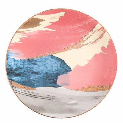 Ceramic Plate Northern Europe Style Gold Drawing Cloud Dish Dessert Western Food Fruit Salad Creative Dish
