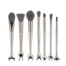 Creative 7PCS Makeup Brushes Set with Unique Chinese Zodiac Style, Delicate Animals Heads Model Handle Head Sliver Cosmetic Brushes Suit