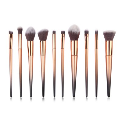 Stylish Gradient 10PCS Professional Cosmetic Brushes Set, Soft Bristle Makeup Brushes Suits with Fashion Paint Handle