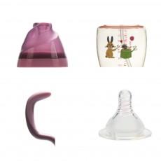 Purple Rabbit Ice-cream Shape PPSU Baby Feeding Bottle, Newborn Infant Learn Milk Water Nursing Feeding Bottle with Handle