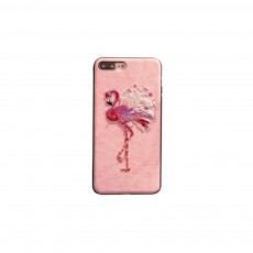 Embroidery Cartoon Flamingo Deer Phone Case, Luxury Soft PC+Silicone Case Cover for iPhone, Vivo, Oppo, Huawei, Creative Stylish Phone Cover