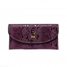 Two-fold Snake Leather Clutch, Ladies Sleek Minimalist Buckle Wallet with Card Holder, Coins Pocket, Driving License Card Slot