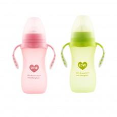 Silica Gel Nursing Bottle EXW, Wide Mouth Not Breakable Nurser Flatulence Prevention Glass Feeding Bottle for New-born Babies