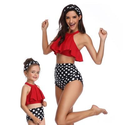 New Style High Waist Ruffle Two Piece Women Girl Fashion Parent-Child Swimsuit Swimwear