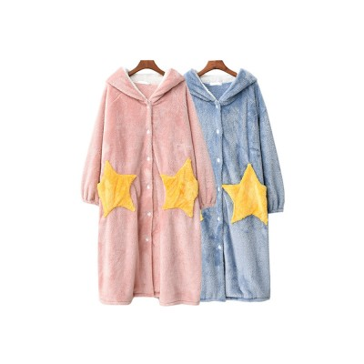 Nightclothes Breathable Sleepwear Long Style for Women Girl Flannel Winter Pajamas