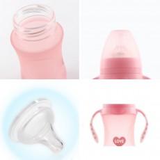 Anti Flatulence Nipple Nursing Bottle for Newborn Babies, Anti-breaking Borosilicate Wide Bore Glass Bottle