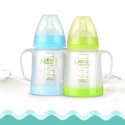 Broad Bore Borosilicate Glass Feeding Bottle, Infants Feeding Bottle With PP Protective Sleeve