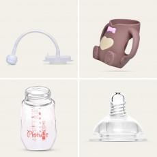 Newborn Baby Borosilicate Glass Feeding Bottle, Bear Infant Feeding Nursing Nipple Bottle with Silicone Handle
