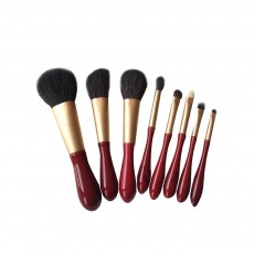 8pcs Red Glaze Makeup Brushes Soft Cosmetic Eyebrow Shadow Brush Tool Set with Bag for Freshman of Makeup