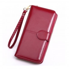 Women Handbag Long Zipper Phone Case Pouch, Fashion Clutch for Female, High-quality Oil Wax Leather Wallet Cash Card Bag 2019