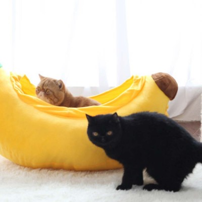 High-quality Xinjiang Cotton Cat Nest, Cute Banana Shape Pet House with Beautiful Curve