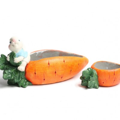 Emulation Carrot Bunny Cement Handicraft, Simulation Ornaments for Garden Courtyard, Living Room, Balcony, Office