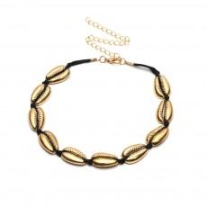 Bohemian Fashion Joker Style Necklace, Handmade Women String Alloy Necklace, Bohemian Metallic Shell Collar Necklace