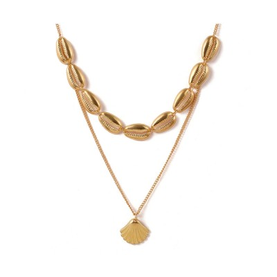 Simple Ethnic Style Women Pendant Necklace, Women Bohemian Alloy Shell Necklace, Sequins Chain Jewelry for Women Wedding