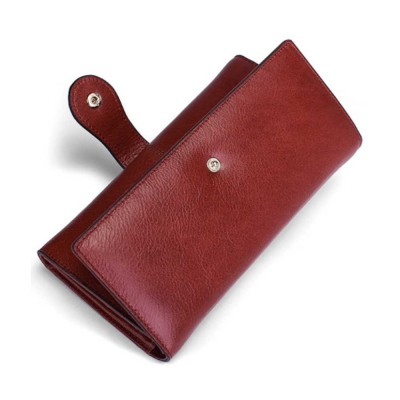 Brown Genuine Leather Long Clutch Oxhide 3 Folds Buckle Long Clutch Women Card Holder Business Purse