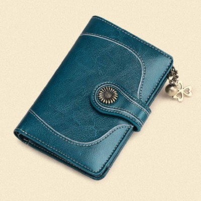 Classical Lady Purse Clover Pendant Genuine Leather Sunflower Short Mini Card Holder Clutch Bag