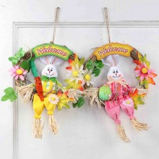 Easter Scarecrow Wreath with Rabbit Design for Kids, Creative DIY Handmade Wreath