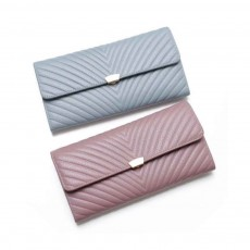 Elegant Purse with V Texture Embossed, Genuine Cow Leather Long Clutch Bag Casual Solid Women Purse