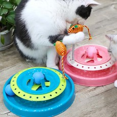 Stainless-steel Rotating Spring Cat Toy, Environment-friendly PP Material Pet Toy, with A Spring Mouse 360° Shaking