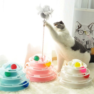 Built-in Multi-color Ball Cat Toy, Environment-friendly PP Material Pet Toy, with Non-slip Pads At the Bottom