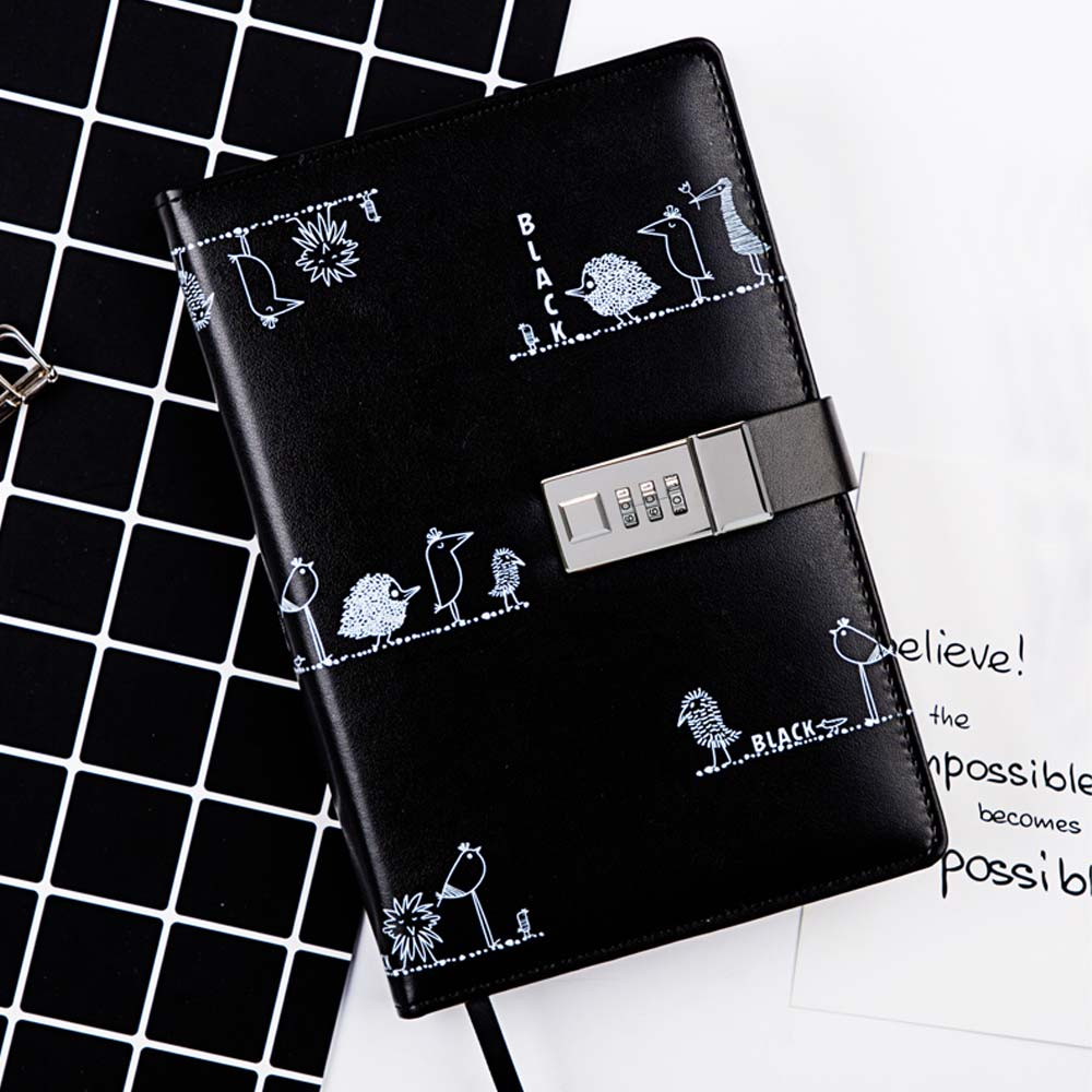 Personalized Lock Adult Password Notebook, Thick Multi-function Notebook, with Hardware Combination Lock