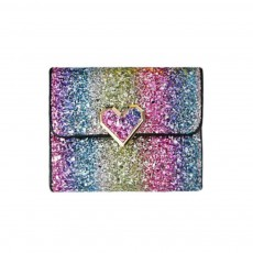 Chic Short Purse Folio Mini Handbag Sequins Colorful 3 Slots PU Leather Rainbow Clutch Bag Evening Party Accessories