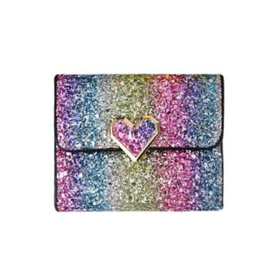 Chic Short Purse Folio Mini Handbag Sequins Colorful 3 Slots PU Leather Rainbow Clutch Bag Evening Party Accessories