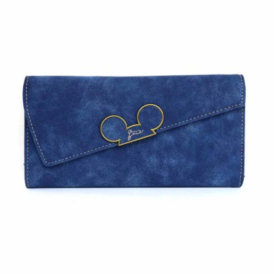 Long Clutch with Cartoon Mouse, Women Handbag Matte PU Leather Buckle Card Holder Portable Purse Flap Bag