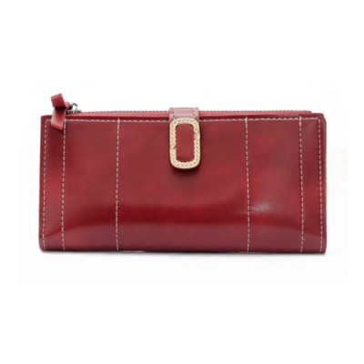 Elegant Synthetic Leather Long Clutch Bag with Buckle Belt Casual Solid Women Purse