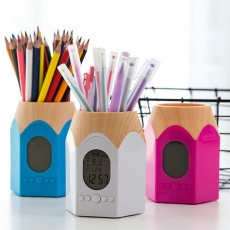 Perpetual Calendar Electronic Clock Pen Holder, Cute Cartoon Student Stationery Storage Box