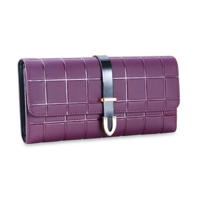 Genuine Leather Portable Purse Long Clutch Flap Bag, Oxhide 3 Folds Buckle Long Wallet Women Handbag Embossed Checks Card Holder